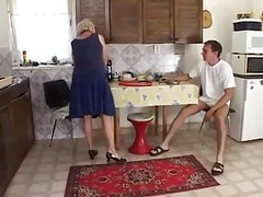 horny wife gets some in kitchen