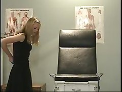 blond mature on gyno chair